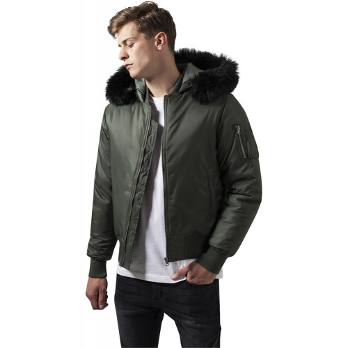 Urban Classics Hooded Basic Bomber Jacket Oli