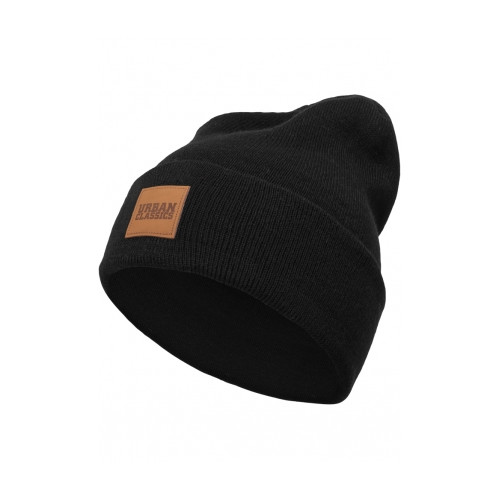 Urban Classics Leatherpatch Long Beanie Black