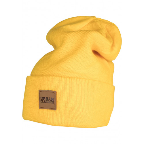 Urban Classics Leatherpatch Long Beanie Chrome Yellow