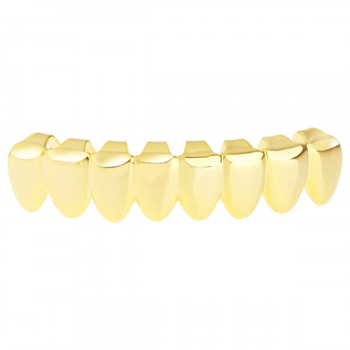 Iced Out Grillz - Gold - One size fits all - BOTTOM TEETH 8 Gold