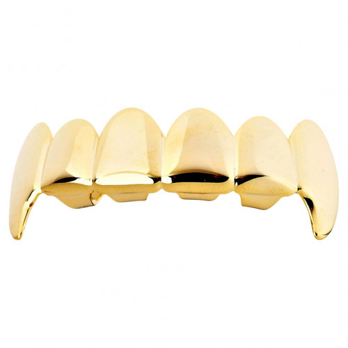 Iced Out One Size Fits All Bling Grillz - VAMPIRE TOP - Gold