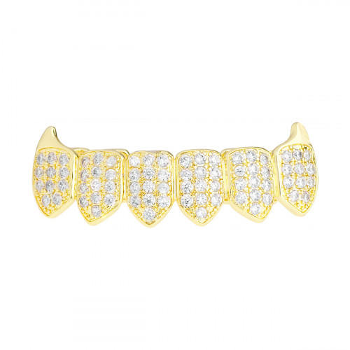 Iced Out Grillz - Gold - One size fits all - VAMPIRE ZIRCONIA Bottom