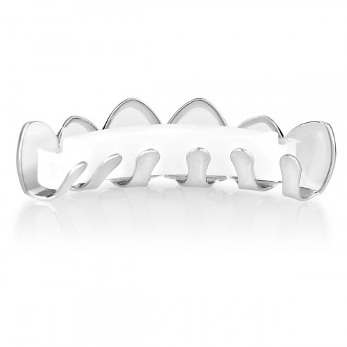 Iced Out Grillz - Silver - One size fits all - CUBIC ZIRCONIA Top
