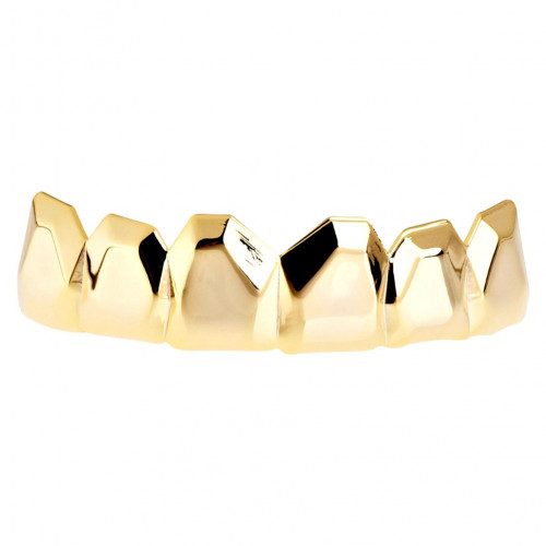 Iced Out One Size Fits All Bling Grillz - EDGY TOP - Gold