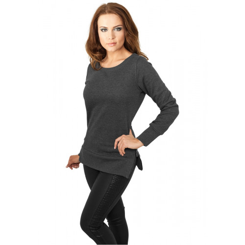 Urban Classics Ladies Side Zip Long Crewneck