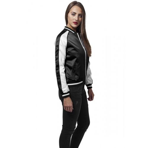 Urban Classics Ladies 3-Tone Souvenir Jacket Blk/offwhite/blk
