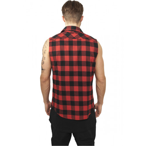 Urban Classics Sleeveless Checked Flanell Shirt Blk/redS
